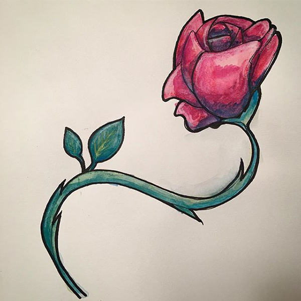 watercolor pencil inktense rose